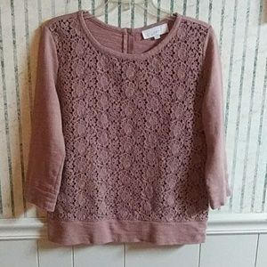 Loft Long Sleeve Brown Laced Top Size M